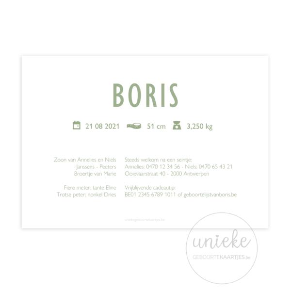 Geboortekaartje Boris Achterkant