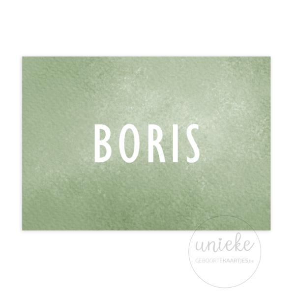 Voorkant van het geboortekaartje van Boris