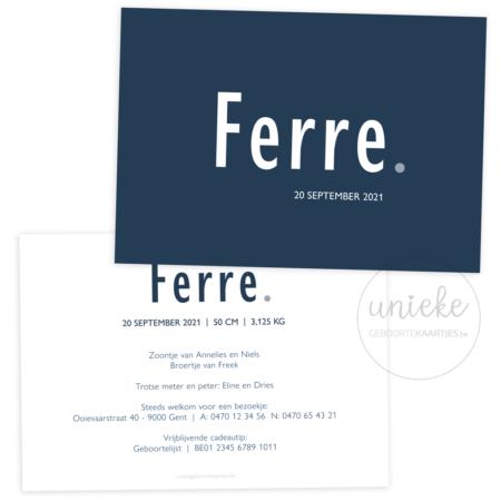 Geboortekaartje van Ferre