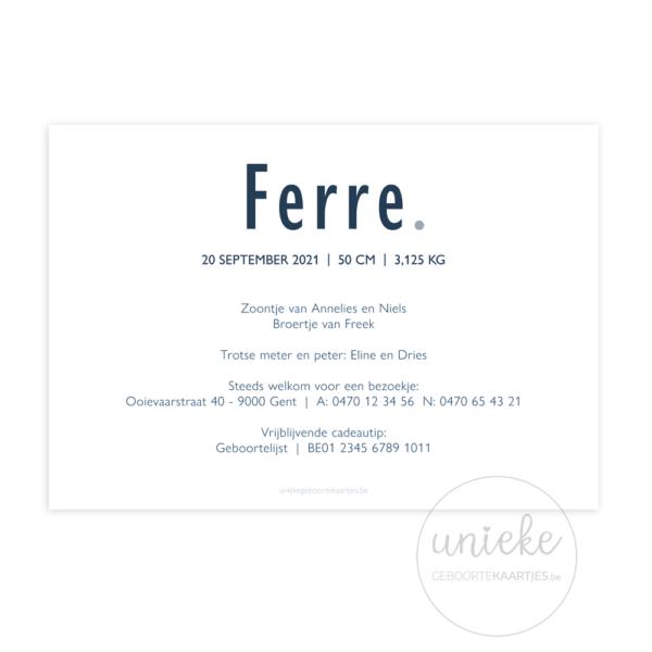 Achterkant van het geboortekaartje van Ferre