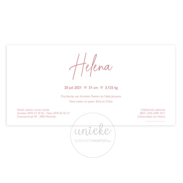 Achterkant van het kaartje van Helena