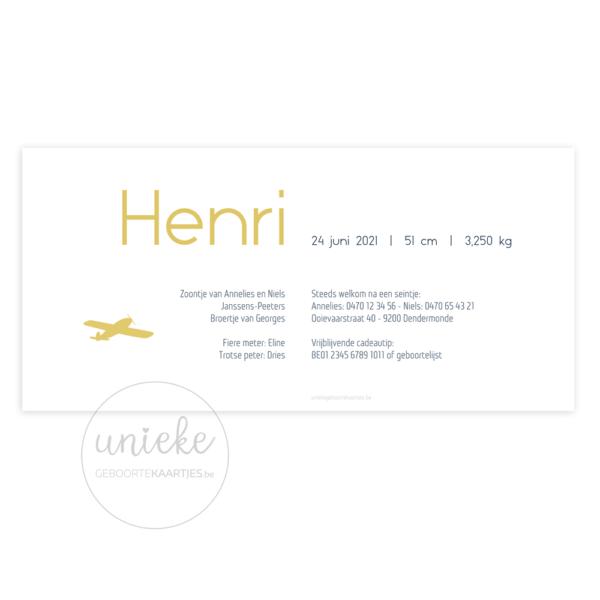 Achterkant van het kaartje van Henri