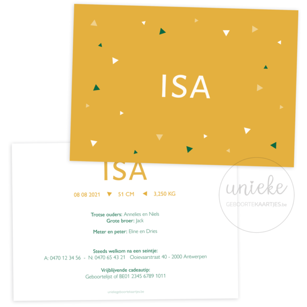 Geboortekaartje van Isa