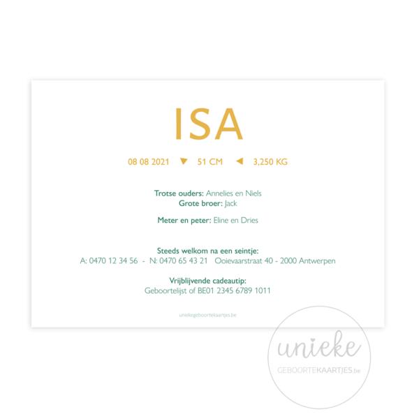 Achterkant van het geboortekaartje van Isa