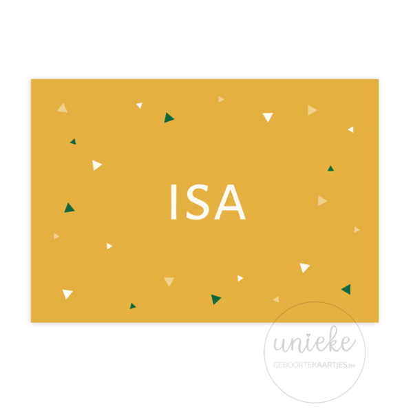 Voorkant van het geboortekaartje van Isa