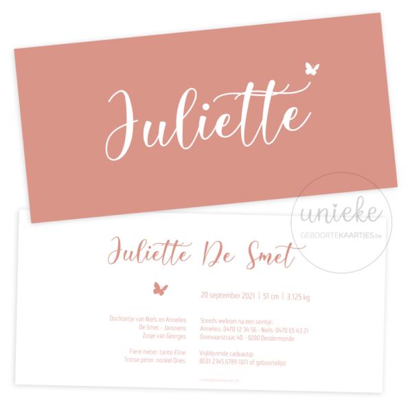 Geboortekaartje van Juliette