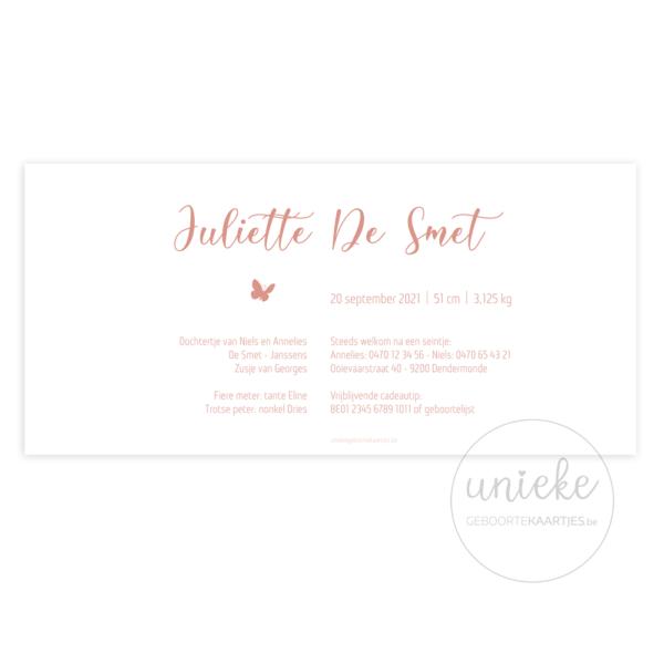 Achterkant van het geboortekaartje van Juliette