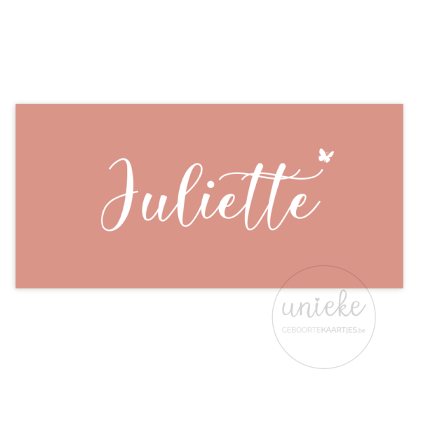 Voorkant van het geboortekaartje van Juliette