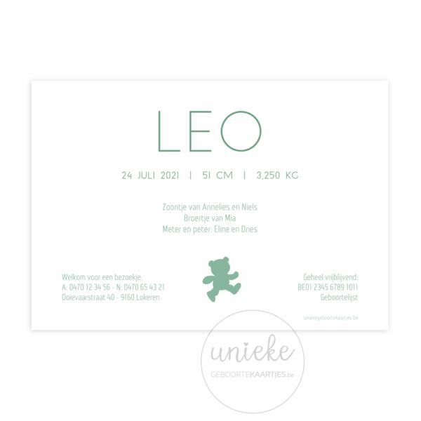 Achterkant van het geboortekaartje van Leo