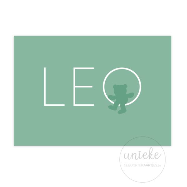 Voorkant van het geboortekaartje van Leo
