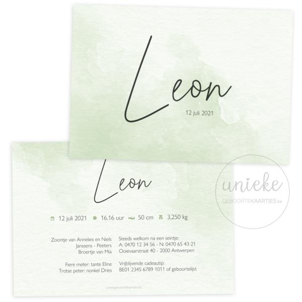 Geboortekaartje van Leon