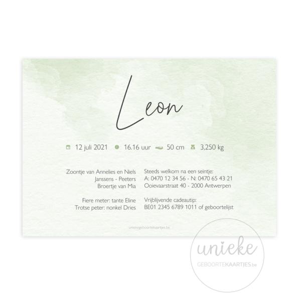Achterkant van het geboortekaartje van Leon