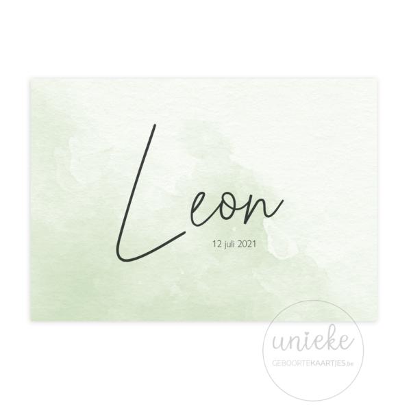 Voorkant van het geboortekaartje van Leon