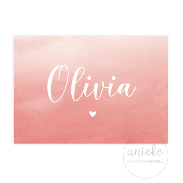 Voorkant van het kaartje van Olivia