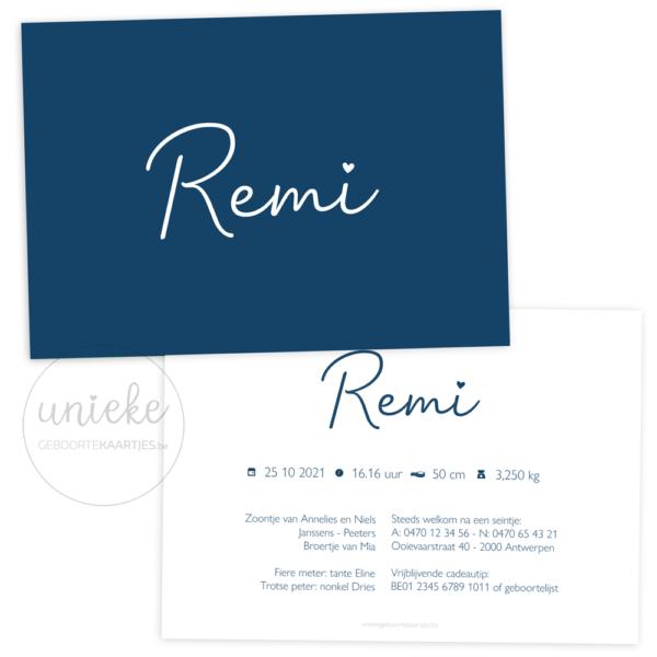 Geboortekaartje van Remi