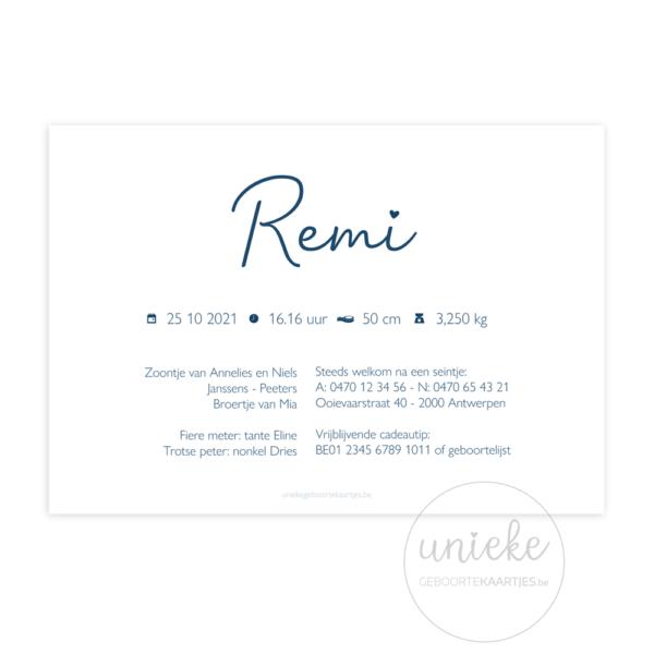 Achterkant van het geboortekaartje van Remi