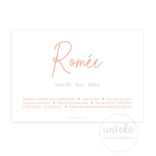 Achterkant van het geboortekaartje van Romée