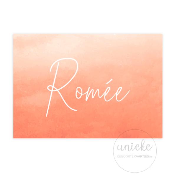 Voorkant van het geboortekaartje van Romée