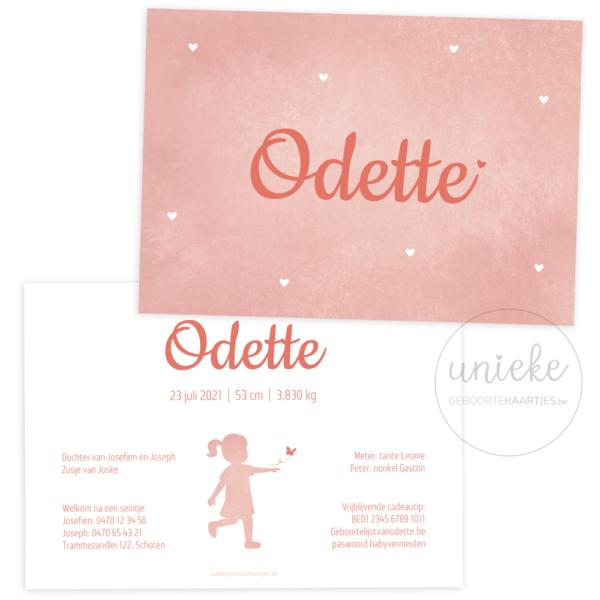 Voorkant en achterkant van het geboortekaartje van Odette