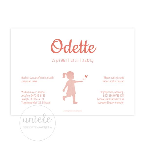 Achterkant van het geboortekaartje van Odette