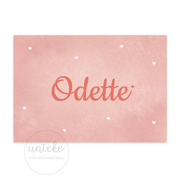 Voorkant van het geboortekaartje van Odette